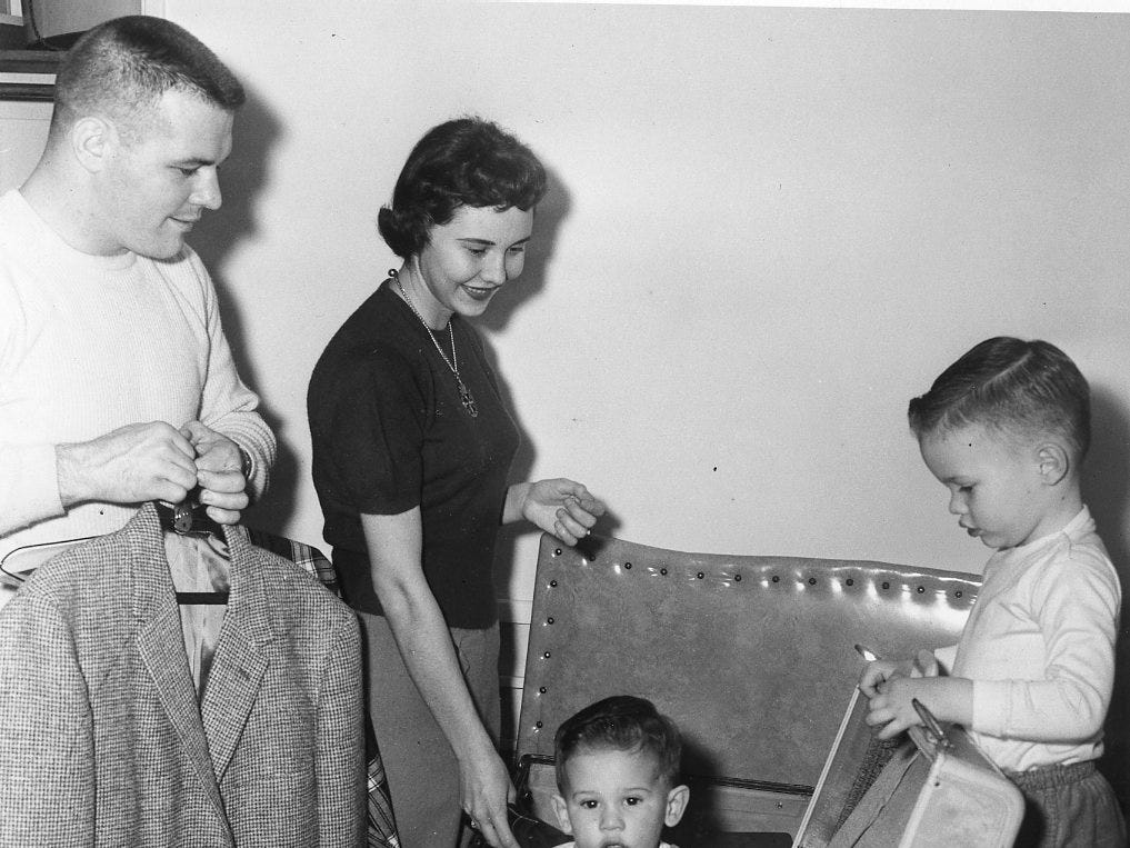 John Michaels with his wife, Ann, and two sons, John Joseph Steve in an undated photo.