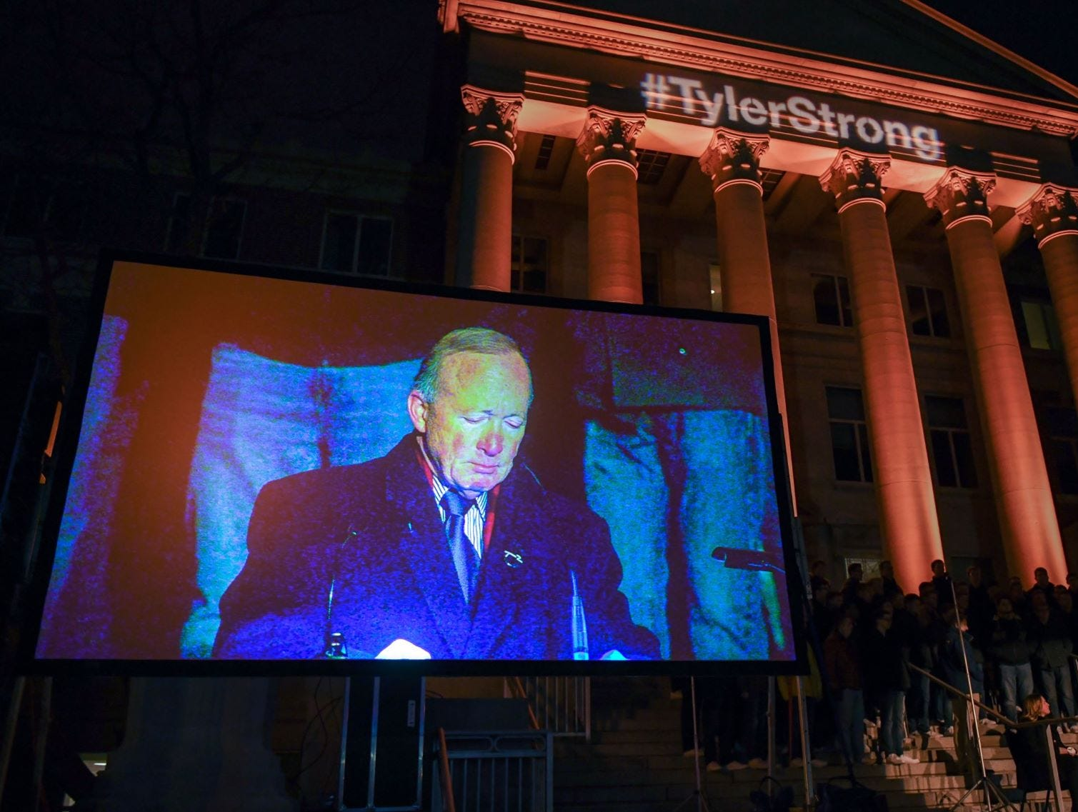 Purdue University president Mitch Daniels fought back tears as he eulogized Tyler Trent at a memorial service and candlelight vigil for Trent at Purdue University in West Lafayette on January 9, 2019.