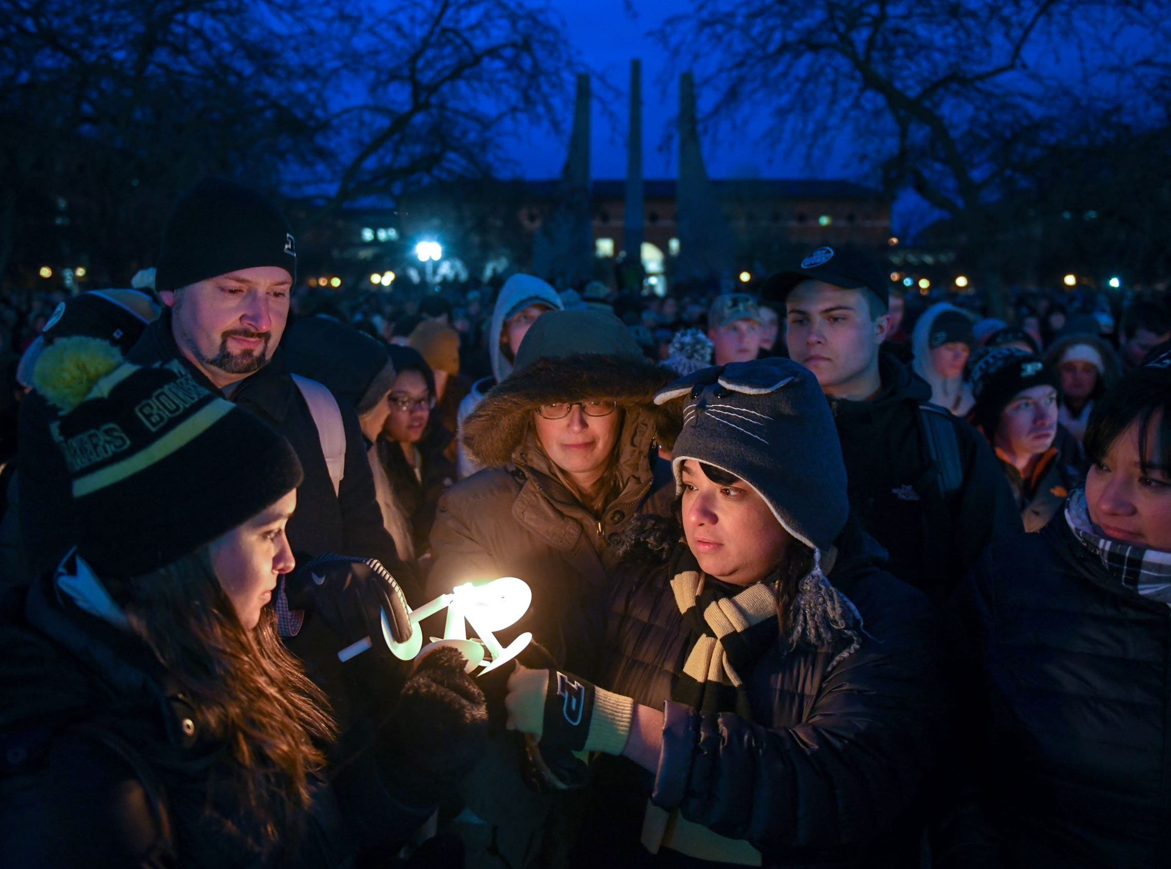 A crowd of about 2,000 people honored Tyler Trent at a memorial service and candlelight vigil at Purdue University in West Lafayette on January 9, 2019.