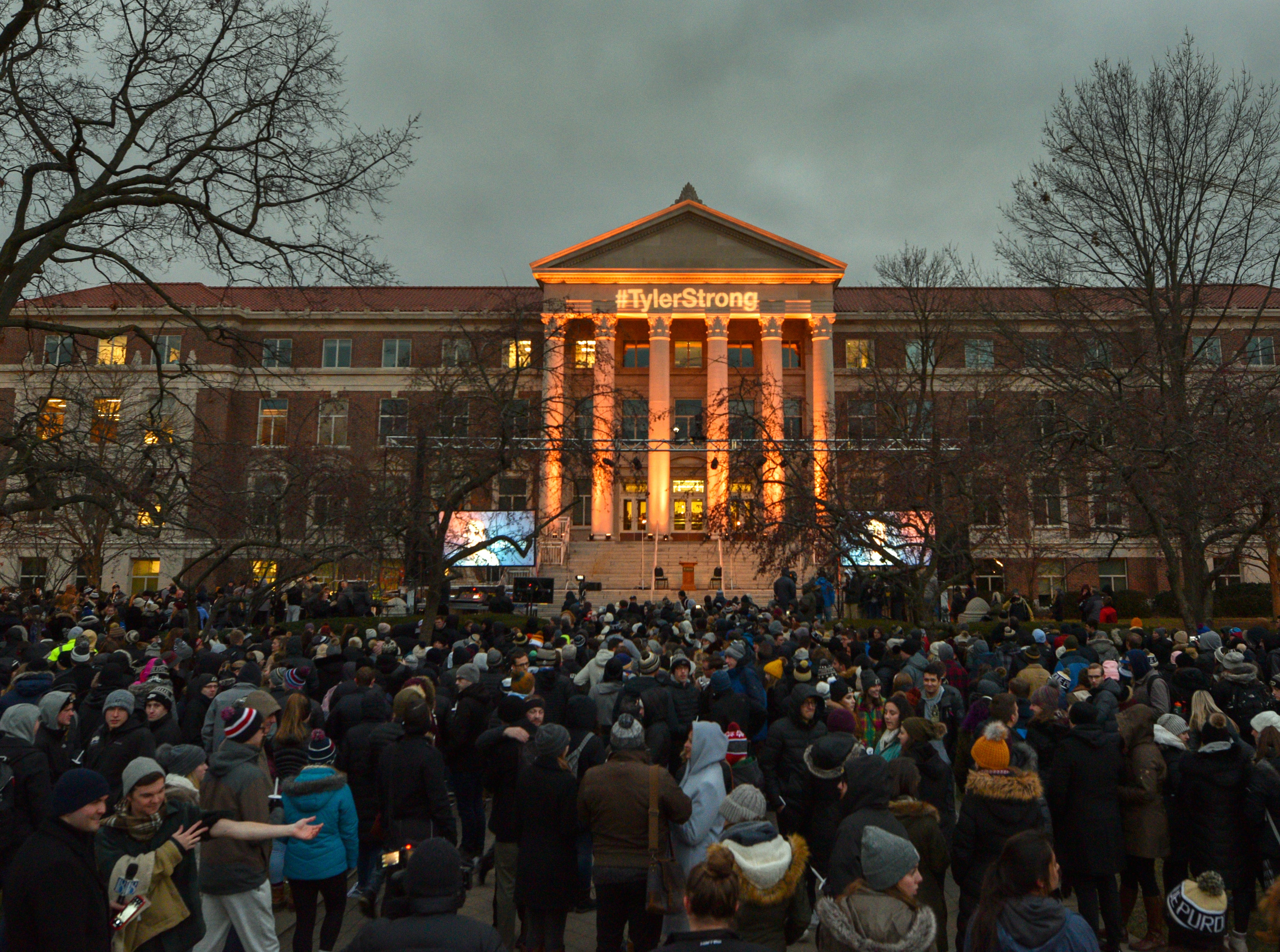 Purdue University police estimated a crowd of 2,000 attended a memorial service and candlelight vigil for Tyler Trent at Purdue University in West Lafayette on January 9, 2019.