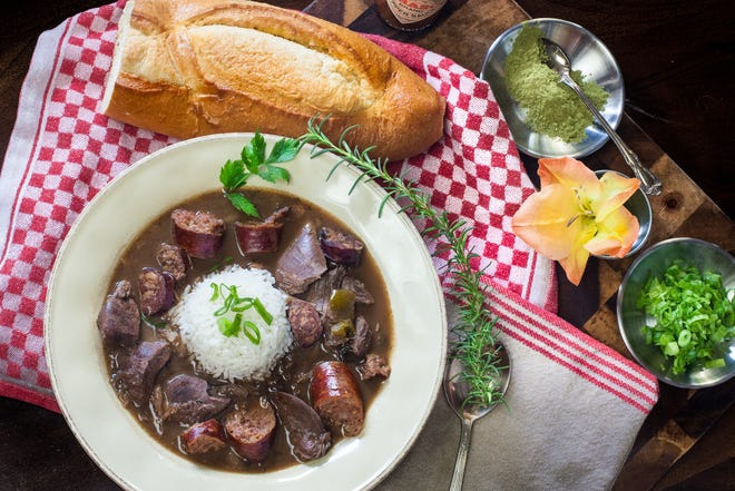 Rich and flavorful, this gumbo features wild duck and smoked pork sausage.