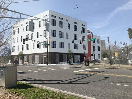 Pictured is a rendering of a mixed-use project that includes 24 residential apartments and commercial space is coming to the corner of Vermilion and Johnston streets in Lafayette.