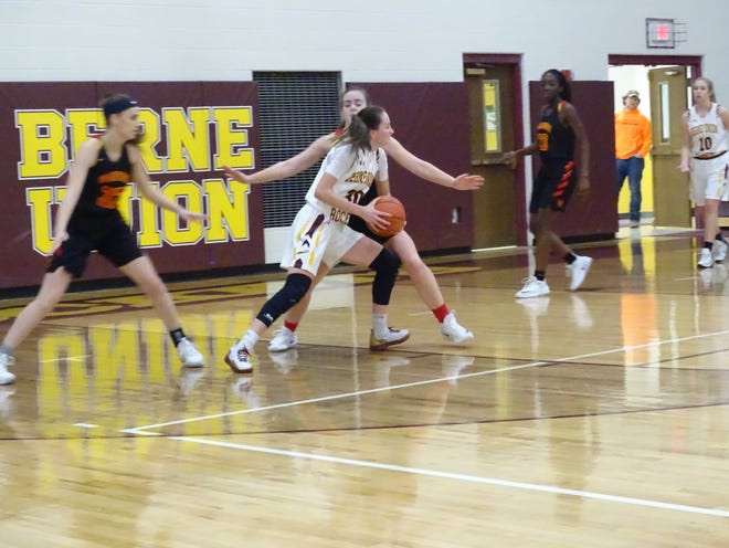 Berne Union sophomore Bella Kline gets set to make a move to the basket against Worthington Christian Wednesday night. Kline finished with 11 points and 11 rebounds in the Rockets' 44-25 loss.