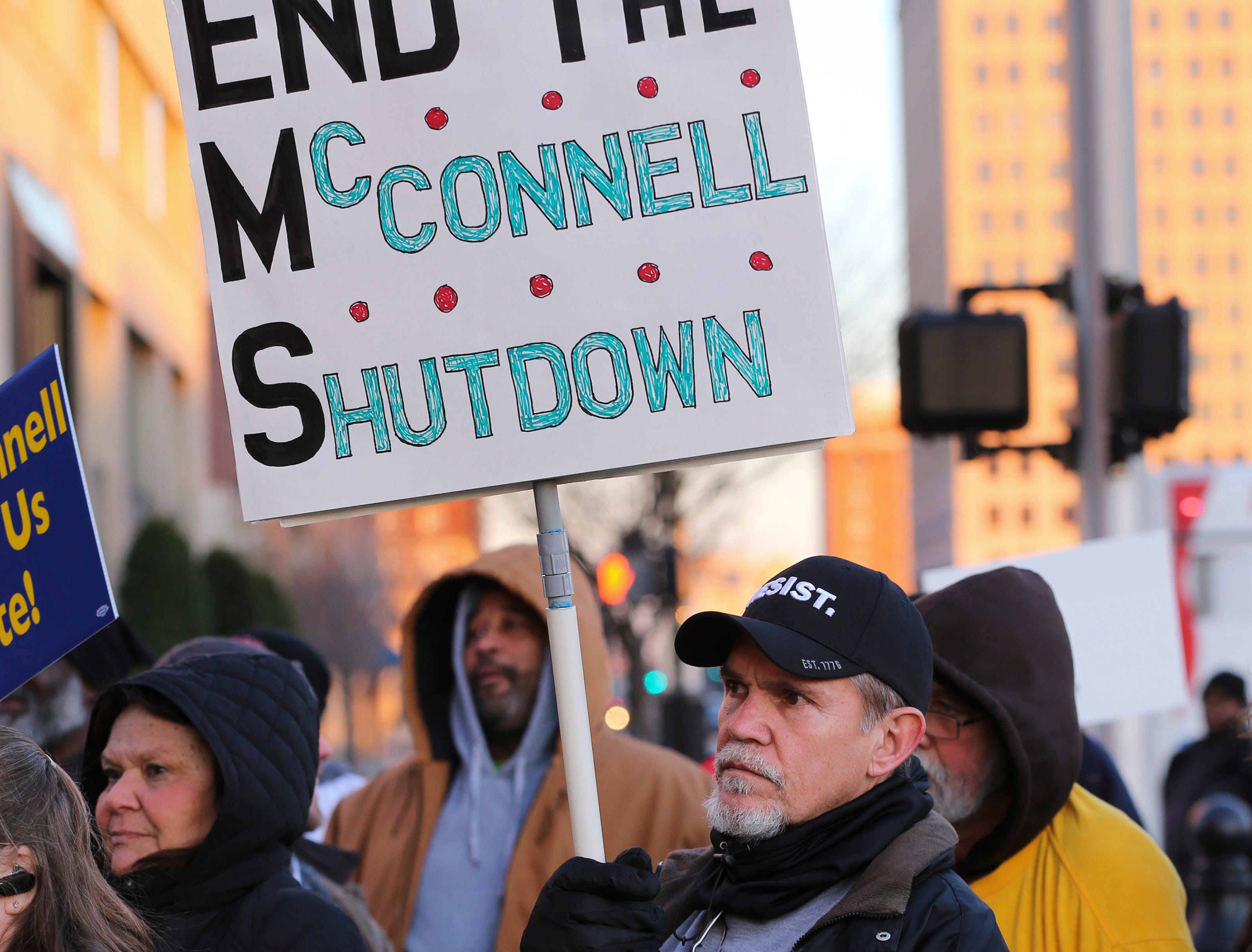 A group of protesters, mostly comprised of Jeffersonville Census Bureau employees, rallied against the government shutdown.Jan. 10, 2019