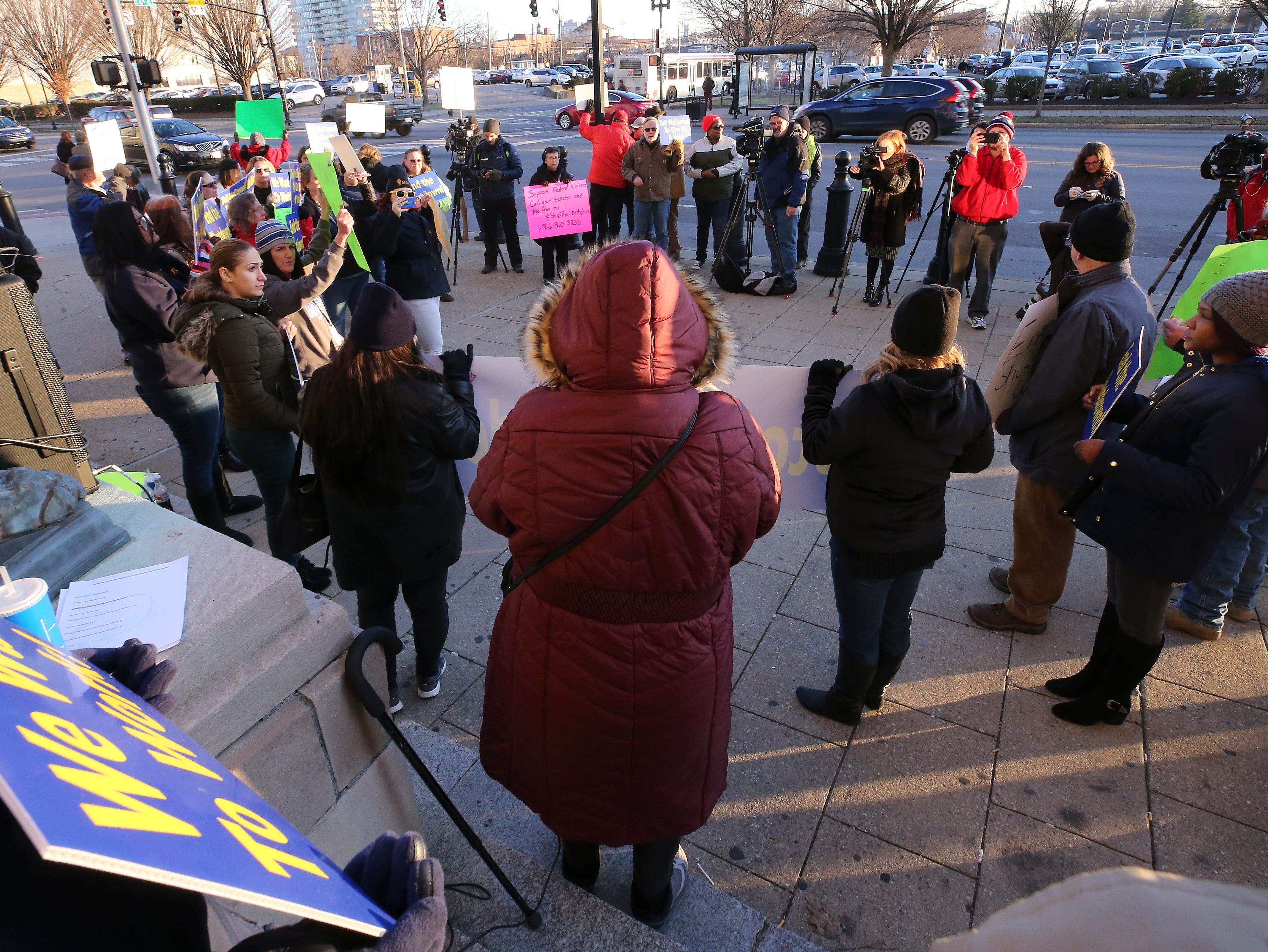 A group of protesters, mostly comprised of Jeffersonville Census Bureau employees, rallied against the government shutdown.