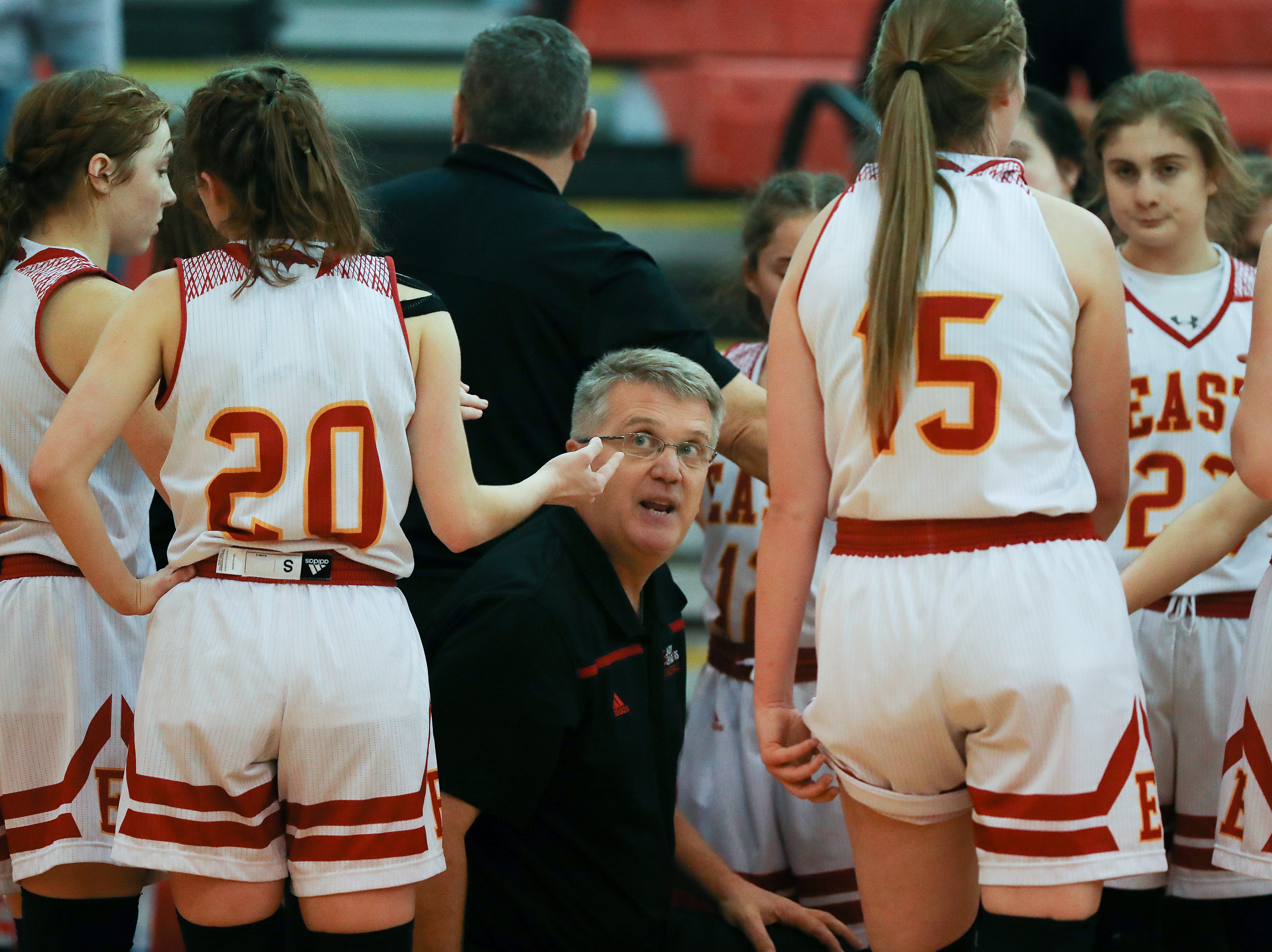 Bullitt East head coach Chris Stallings instructed his team against Mercy at the Bullitt East High School.Jan. 9, 2019