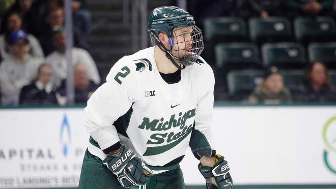 Michigan State's Zach Osburn is shown during an NCAA hockey game against Ohio State on Saturday, Jan. 5, 2019, in East Lansing, Mich.