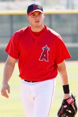 Dallas McPherson, who was named the new manager of the Lansing Lugnuts, is shown in a photo in 2006 while playing for the Angels. McPherson spent five seasons in the majors.