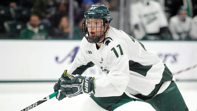 Tommy Apap, shown in a game against Ohio State on  Jan. 5, scored one of the Spartans' six goals in their 6-4 win over Penn State on Saturday.