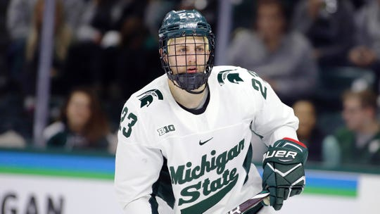 Michigan State's Cody Milan, shown during a game against Ohio State earlier this month, scored two goals, but they weren't enough in the Spartans' 6-3 loss at Notre Dame on Friday night.