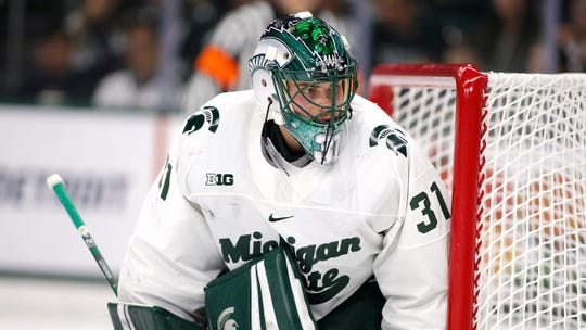 Michigan State's John Lethemon is shown during an NCAA hockey game against Ohio State on Saturday, Jan. 5, 2019, in East Lansing, Mich.
