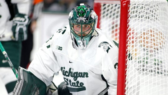 Michigan State's John Lethemon, shown during a game in January, had 32 saves, including 17 in the third period, in the Spartans' 3-2 victory over No. 7 Ohio State in their regular-season finale on Saturday night.