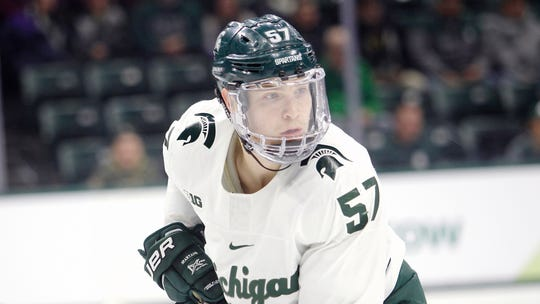 Michigan State's Jerad Rosburg is shown during an NCAA hockey game against Ohio State on Saturday, Jan. 5, 2019, in East Lansing, Mich.