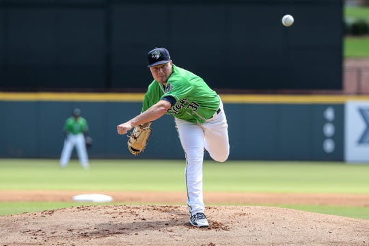 Corbin Clouse fires a pitch last season while pitching for the Gwinnett Stripers - the Triple-A affiliate of the Atlanta Braves. Clouse, a Grand Ledge graduate,  went 6-2 with a 1.94 earned run average over 45 appearances while pitching in Double-A and Triple-A in 2019. He had 83 strikeouts and just 25 walks in 65 innings out of the bullpen.