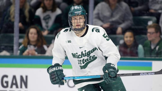 Michigan State's Patrick Khodorenko is shown during an NCAA hockey game against Ohio State on Saturday, Jan. 5, 2019, in East Lansing, Mich.