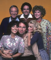 "The original cast of ""Three's Company"" (clockwise, from upper left): Norman Fell, Richard Kline, Audra Lindley, Suzanne Somers, John Ritter, Joyce DeWitt."