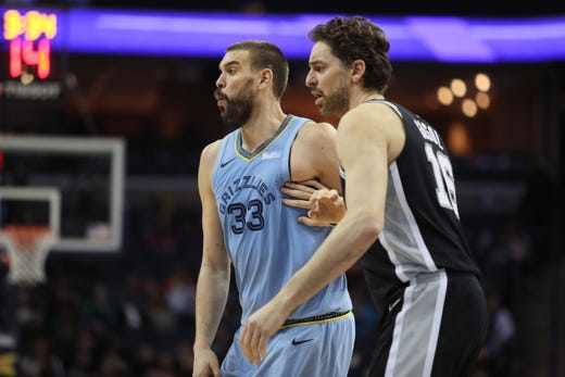 San Antonio Spurs center Pau Gasol defends his brother, Memphis Grizzlies center Marc Gasol during their game at the FedExForum on Wednesday, Jan. 9, 2019.