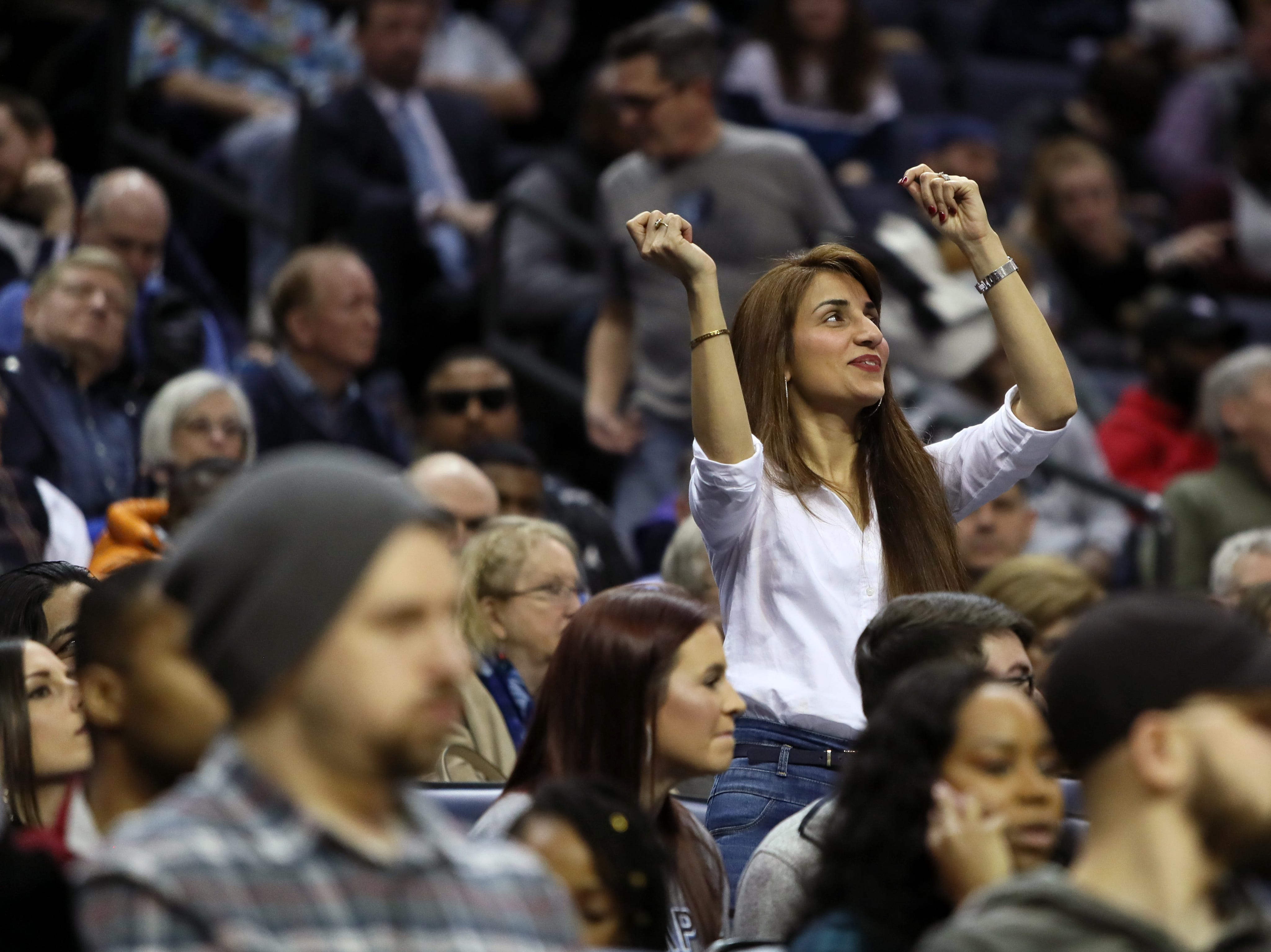 Memphis Grizzlies fans cheer on their team as they play the San Antonio Spurs at the FedExForum on Wednesday, Jan. 9, 2019.