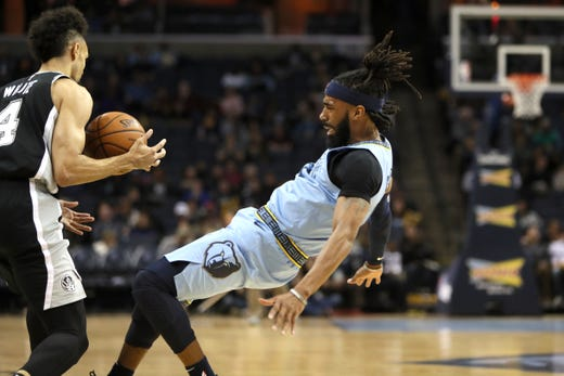 Memphis Grizzlies guard Mike Conley draws the charging call on San Antonio Spurs guard Derrick White during their game at the FedExForum on Wednesday, Jan. 9, 2019.