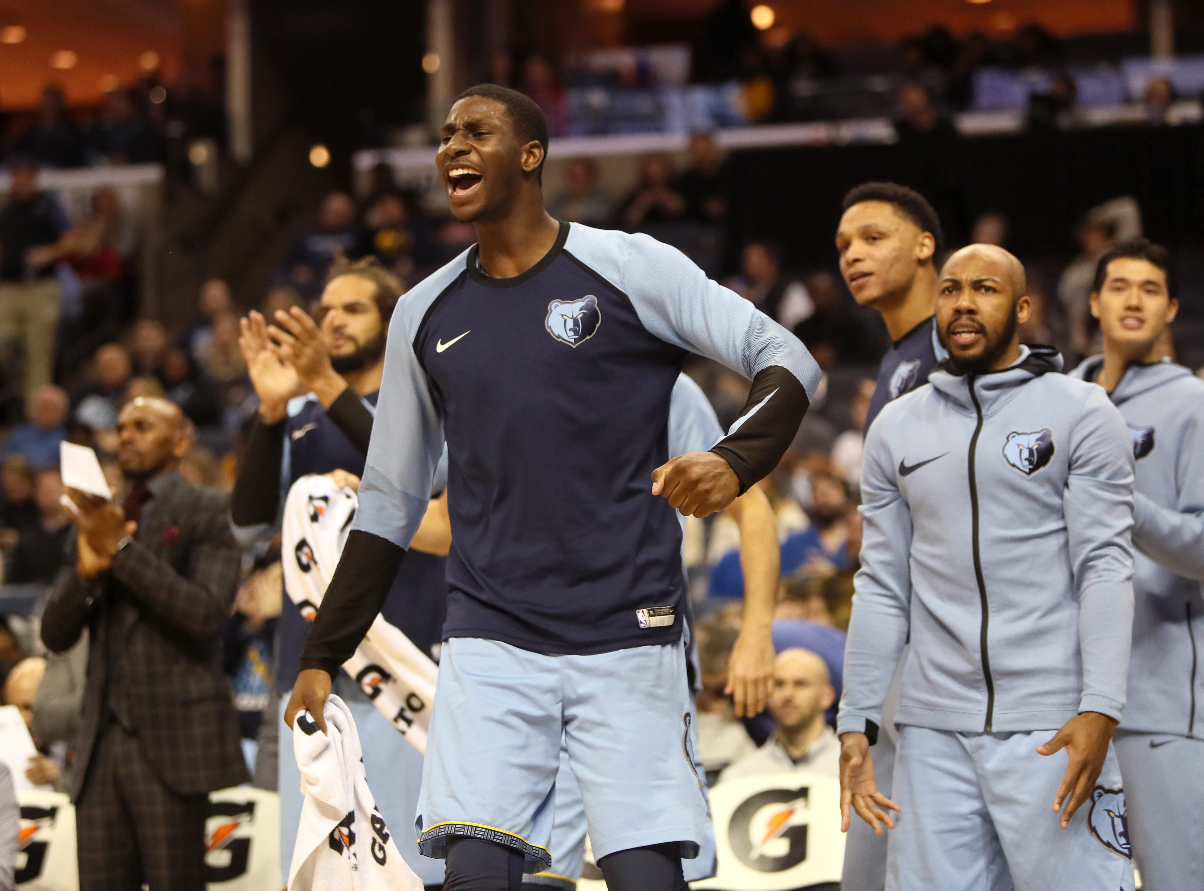 Memphis Grizzliesforward Jaren Jackson Jr. celebrates from the bench as they defeat the San Antonio Spurs 96-86 at the FedExForum on Wednesday, Jan. 9, 2019.