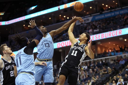 Memphis Grizzlies forward Jaren Jackson Jr. blocks a shot by San Antonio Spurs guard 	Bryn Forbes during their game at the FedExForum on Wednesday, Jan. 9, 2019.