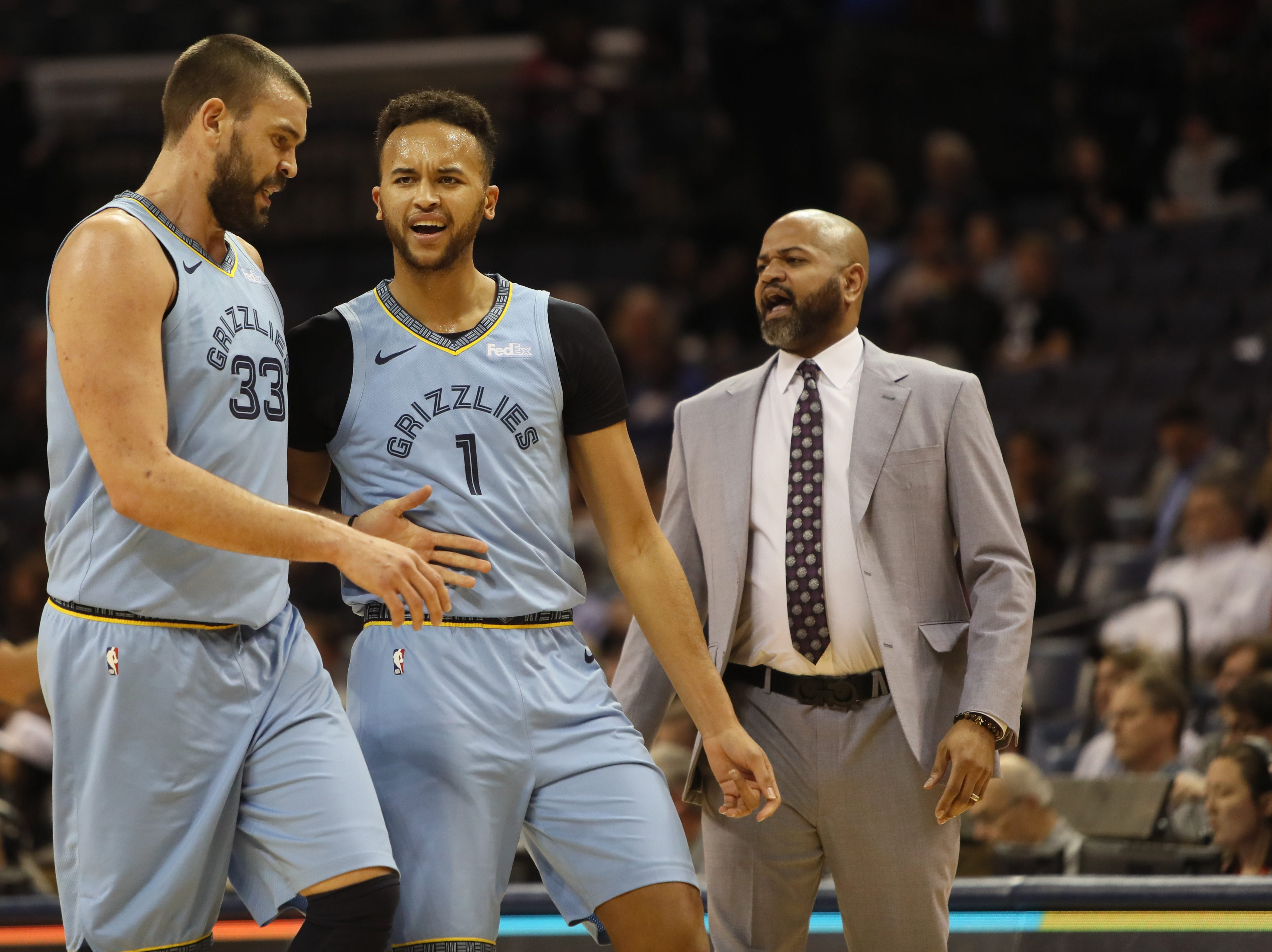 Memphis Grizzlies Marc Gasol, left, and Kyle Anderson walk off the floor during a timeout in their game against the San Antonio Spurs at the FedExForum on Wednesday, Jan. 9, 2019.
