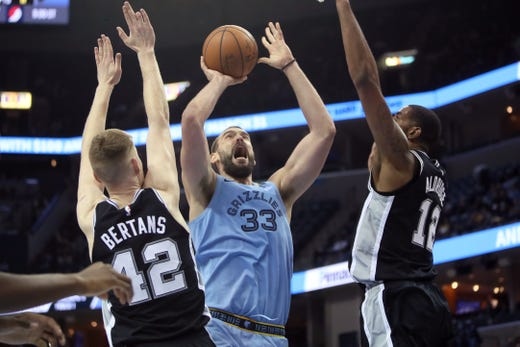 Memphis Grizzlies center Marc Gasol makes a shot over San Antonio Spurs defenders Davis Bertans, left, and LaMarcus Aldridge during their game at the FedExForum on Wednesday, Jan. 9, 2019.