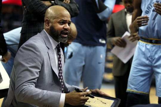 Memphis Grizzlies Head Coach J.B. Bickerstaff talks to his team during a timeout in their game against San Antonio Spurs at the FedExForum on Wednesday, Jan. 9, 2019.