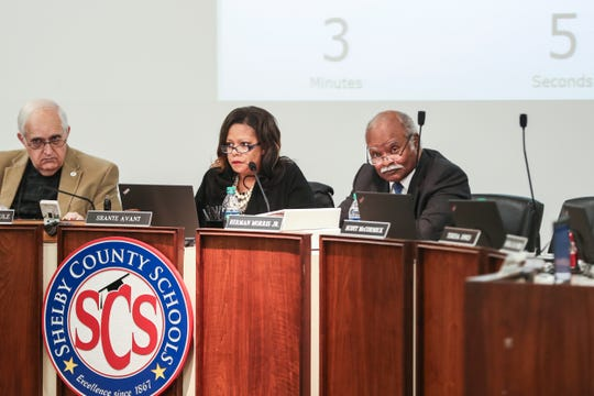January 09 2019 - From left, Charles Schulz, Shante Avant, and Herman Morris Jr. during Monekea Smith's appeal. The Shelby County Schools board voted 6-0 to uphold the previous decision of a hearing officer to uphold Smith's suspension and demotion to a teaching position.