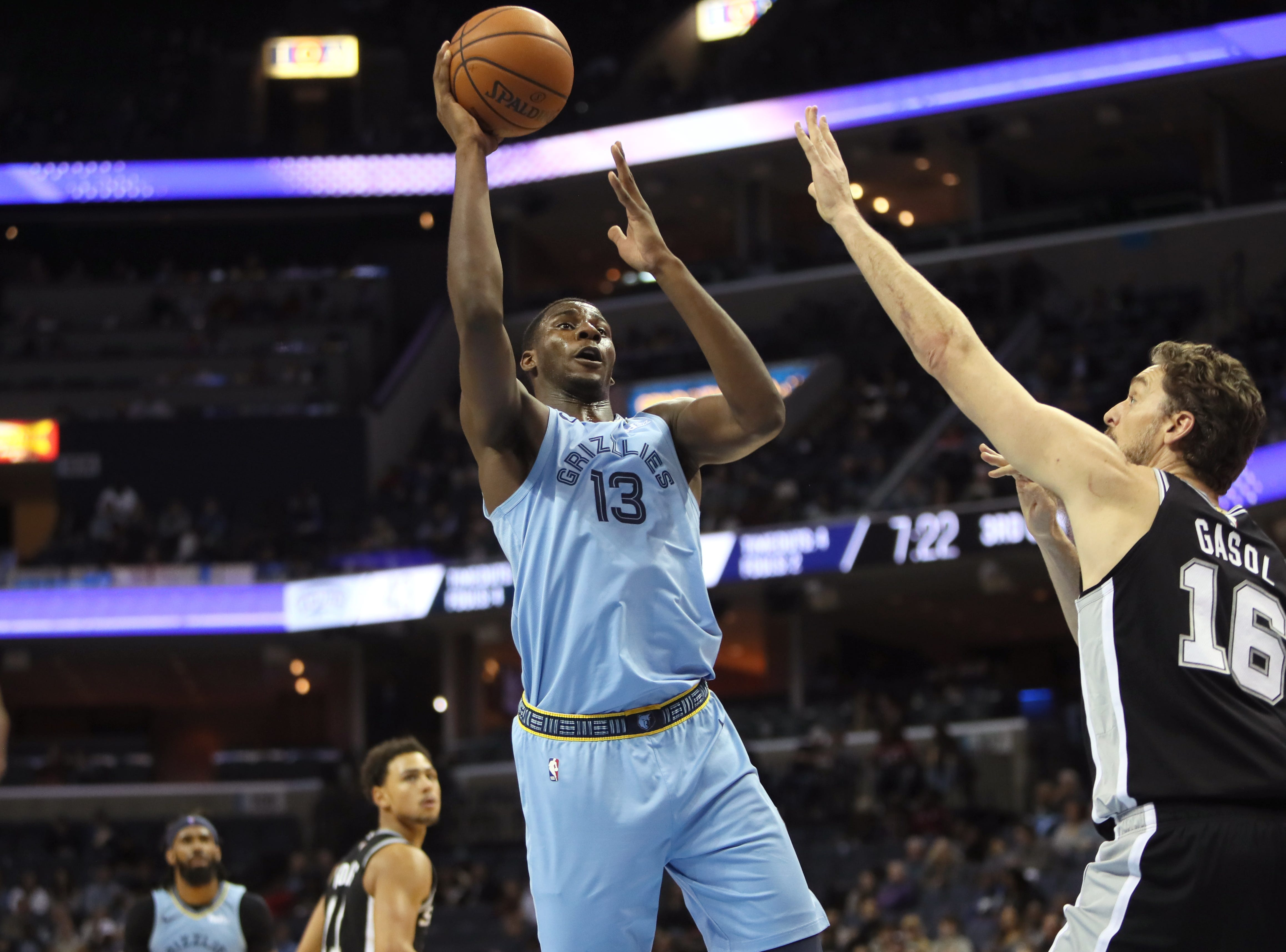 Memphis Grizzlies forward Jaren Jackson Jr. shoots the ball over San Antonio Spurs defender Pau Gasol during their game at the FedExForum on Wednesday, Jan. 9, 2019.