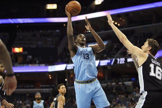 Memphis Grizzlies forward Jaren Jackson Jr. shoots the ball over San Antonio Spurs defender Pau Gasol during their game at the FedExForum on Wednesday, Jan. 9, 2019.