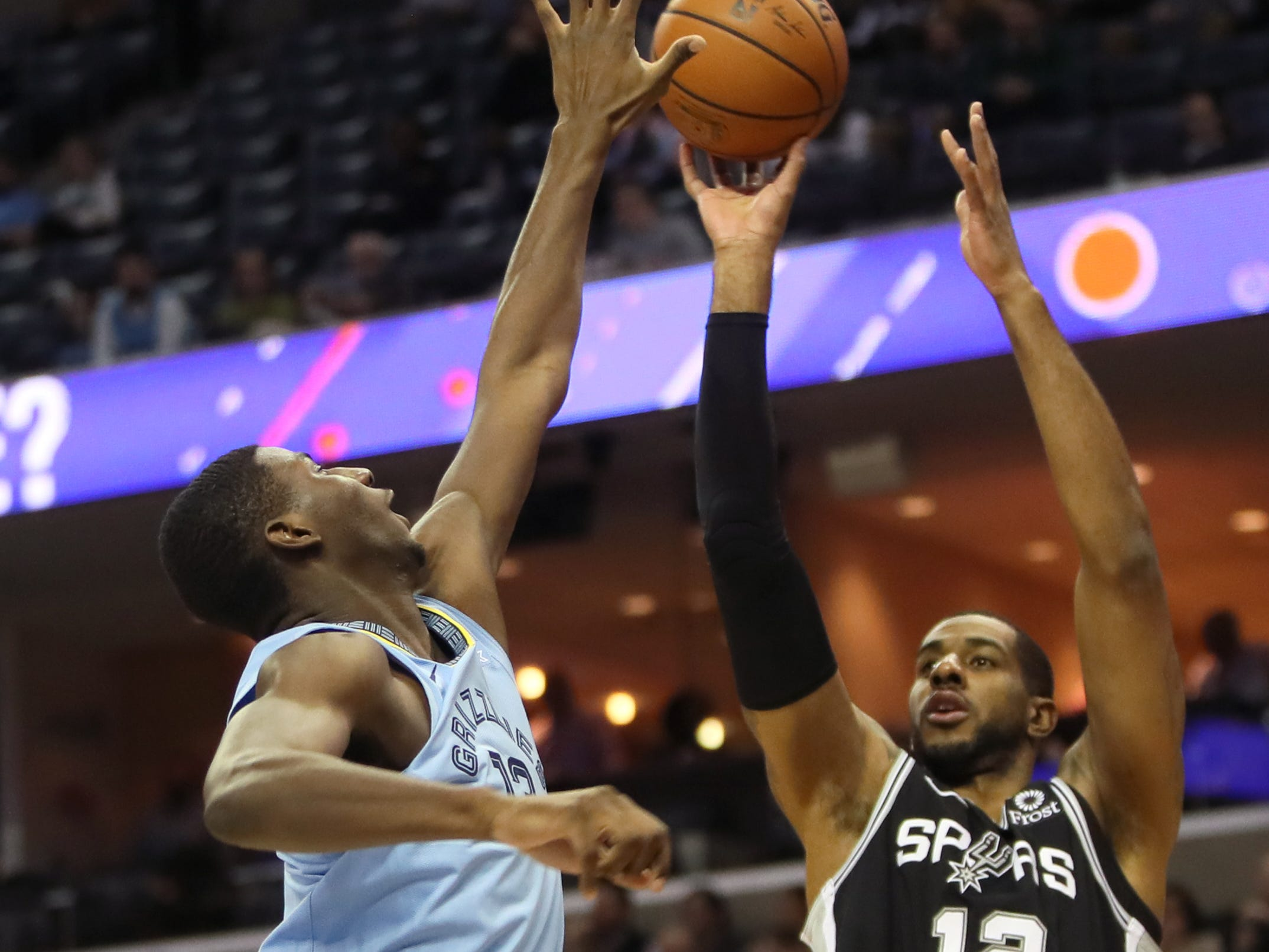 Memphis Grizzlies forward Jaren Jackson Jr. defends a shot by San Antonio Spurs forward LaMarcus Aldridge during their game at the FedExForum on Wednesday, Jan. 9, 2019.
