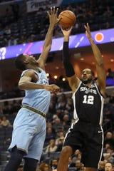 Memphis Grizzlies forward Jaren Jackson Jr. defends a shot by San Antonio Spurs forward LaMarcus Aldridge during their game at the FedExForum on Wednesday, Jan. 9, 2019.