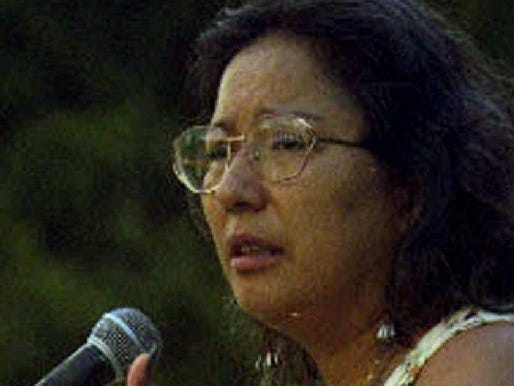 FILE--Ingrid Washinawatok, a member of the Menominee nation of Wisconsin speaks at the Indigenous Women's Network conference in Austin, Texas in this May 1997 photo. Washinawatok was one of the three American humanitarian workers found dead in a field Friday, March 5, 1999 in La Victoria, Venezuela, near the Colombian border. Washinawatok, Terence Freitas and Lahe'ena'e Gay were abducted by armed men in civilian clothing Feb. 25 after they had spent a week with an indigenous group trying to help organize schools. (AP Photo/Mary Annette Pember, HO)