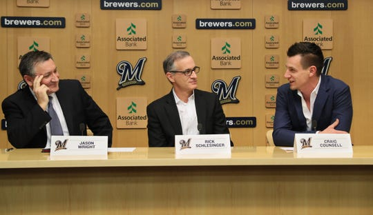 Rick Schlesinger (center), the Brewers' Chief Operating Officer, said the team will increase staffing and incentivize advance parking sales for Billy Joel's Miller Park show, to avoid the massive gridlock surrounding the stadium when Ed Sheeran played the ballpark in October. Seated with Schlesinger at Thursday's Miller Park press conference were Live Nation executive Jason Wright (left) and team manager Craig Counsell.