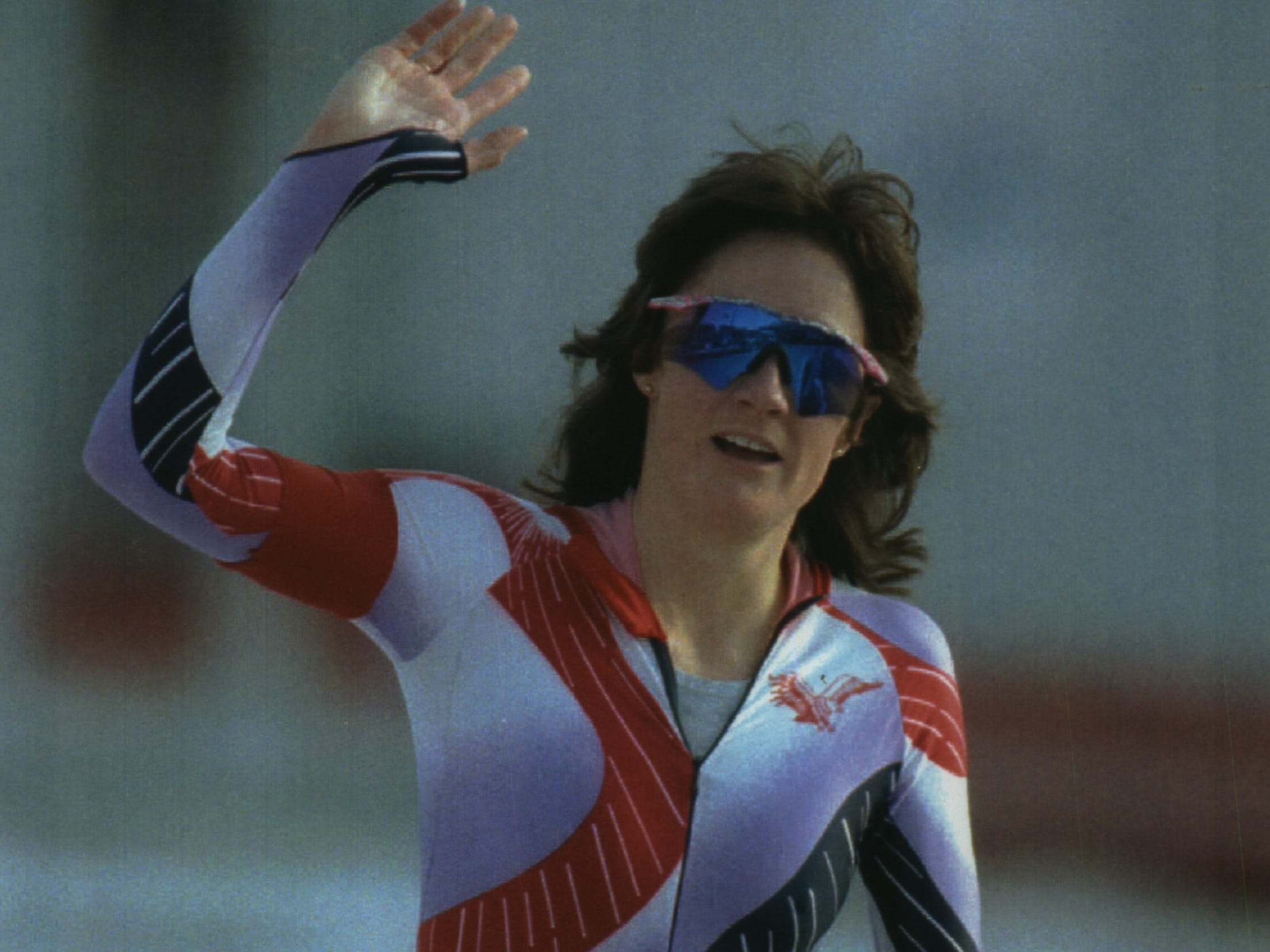 US Speed Skater Bonnie Blair of Champaign, Illinois, waves after competing in the women's 1,000-meter Olympic race Friday in Albertville, France.  She was as good as gold.  She won her second gold medal in this year's Winter Olympics and the third in her career.