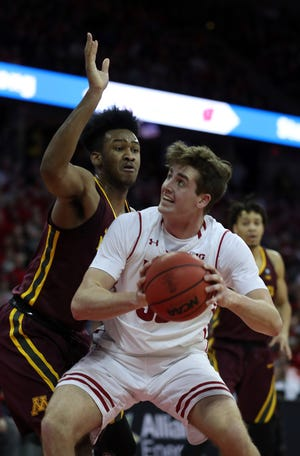 Wisconsin forward Nate Reuvers had 12 points, five rebounds, two blocks and two steals against Minnesota recently.