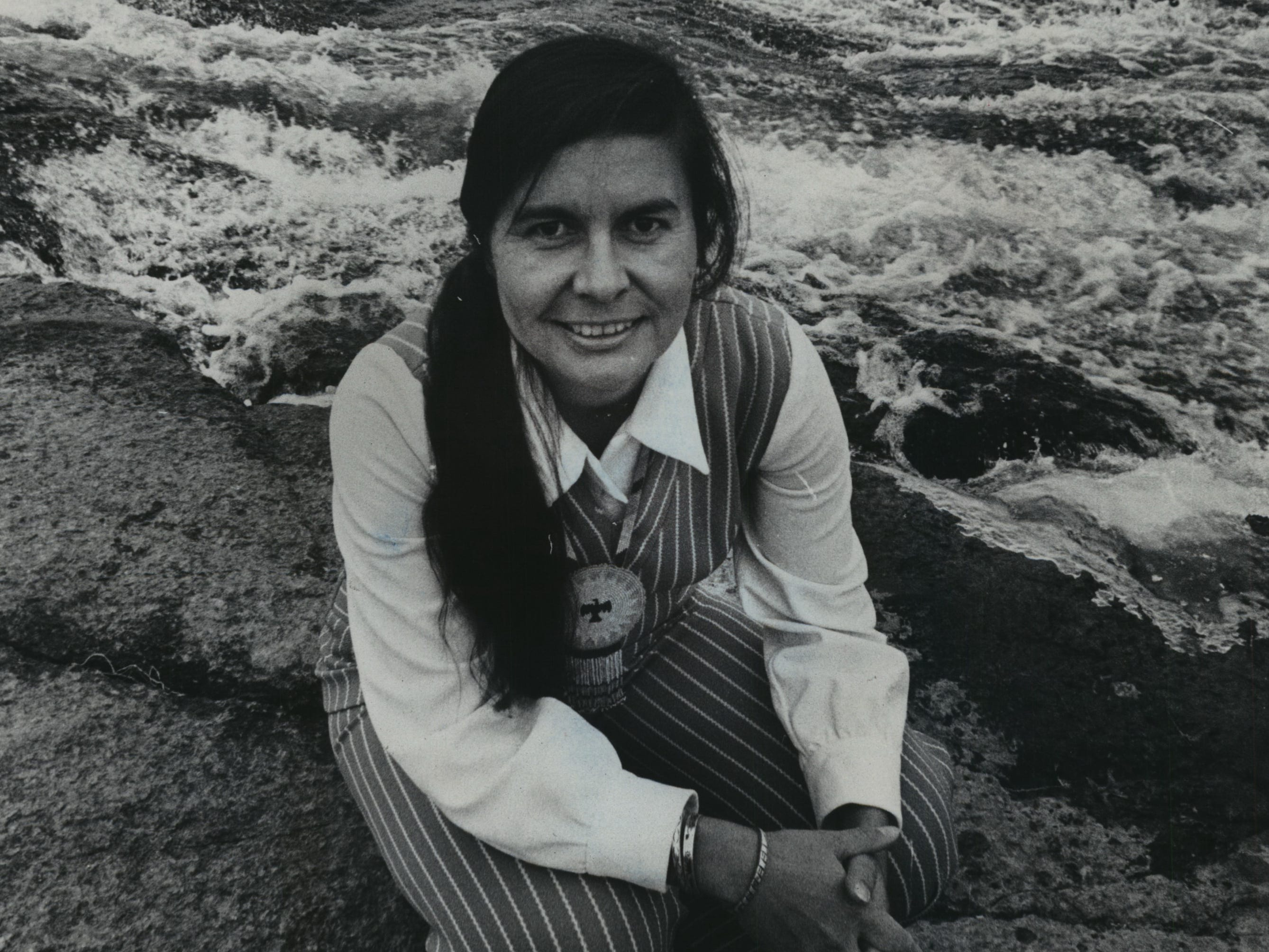 Ada Deer, shown in 1976 at Keshena Falls on the Wolf River, grew up absorbing the love of the land.