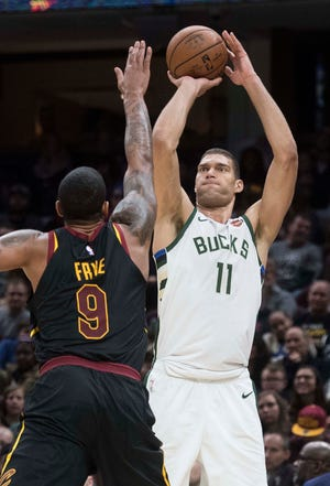 Bucks center Brook Lopez ranked 10th in the NBA in three-pointers made through Wednesday's games.