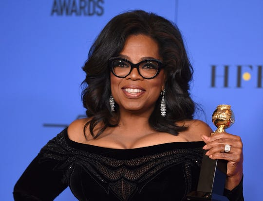 In this Jan. 7, 2018, file photo, Oprah Winfrey poses in the press room with the Cecil B. DeMille Award at the 75th annual Golden Globe Awards in Beverly Hills, Calif. She will interview El Pasoan Beto O'Rourke on Feb. 5 in New York.