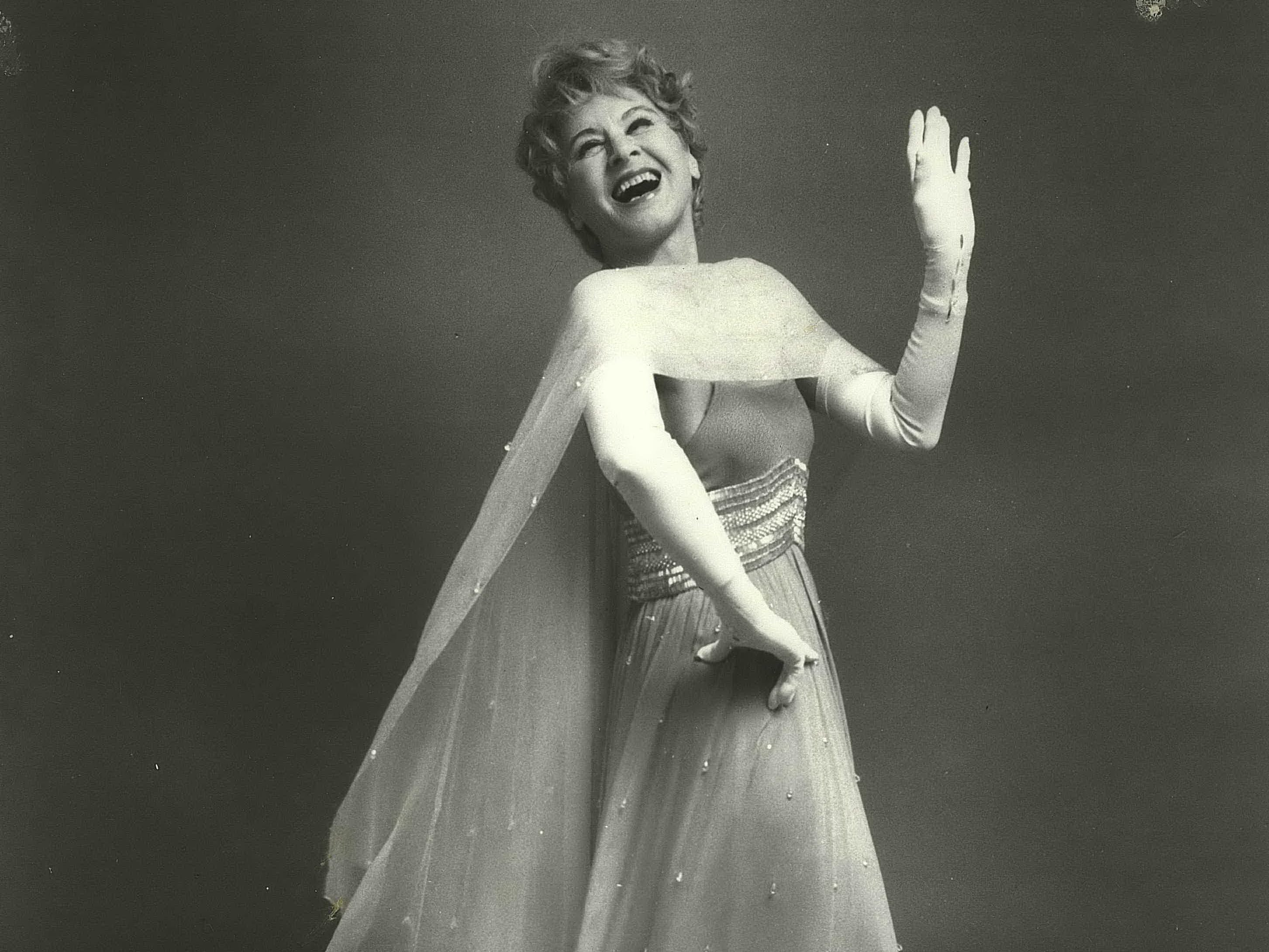 Singer Hildegarde in formal gown (United States Singers)