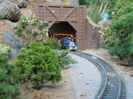 "Vintage steam trains meet the future during the ""2015: A Space Odyssey"" train show at the Mitchell Park Domes. photo courtesy Milwaukee County Department of Parks, Recreation & Culture"
