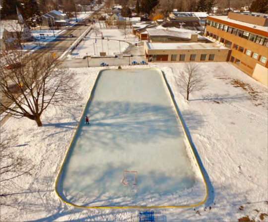 The ice rink outside the Sussex Civic Center has been closed because of damage to the liner that allows water to leak when the weather is warm. Village staff is preparing to fix its damage as soon as possible.