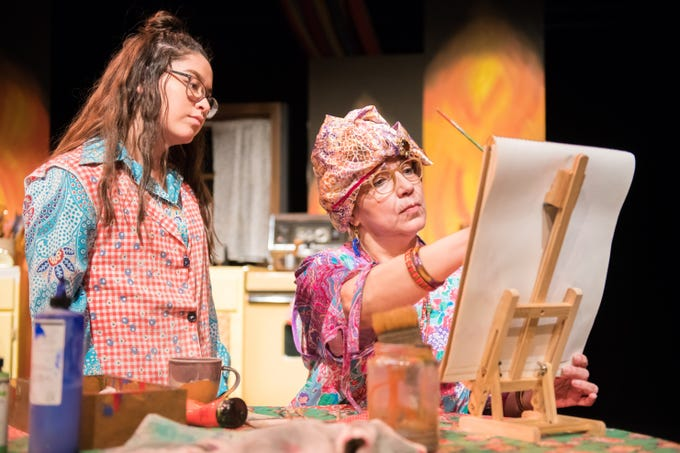 "Karina Rodriguez (left) and Sandra Zapata-Hollander perform in ""Pinta El Fuego,"" written by Markia Silverman-Rodriguez from Pius XI Catholic High School. Milwaukee Chamber Theatre presents its Young Playwrights Festival Showcase Jan. 10-13 at the Broadway Theatre Center. 158 N. Broadway."