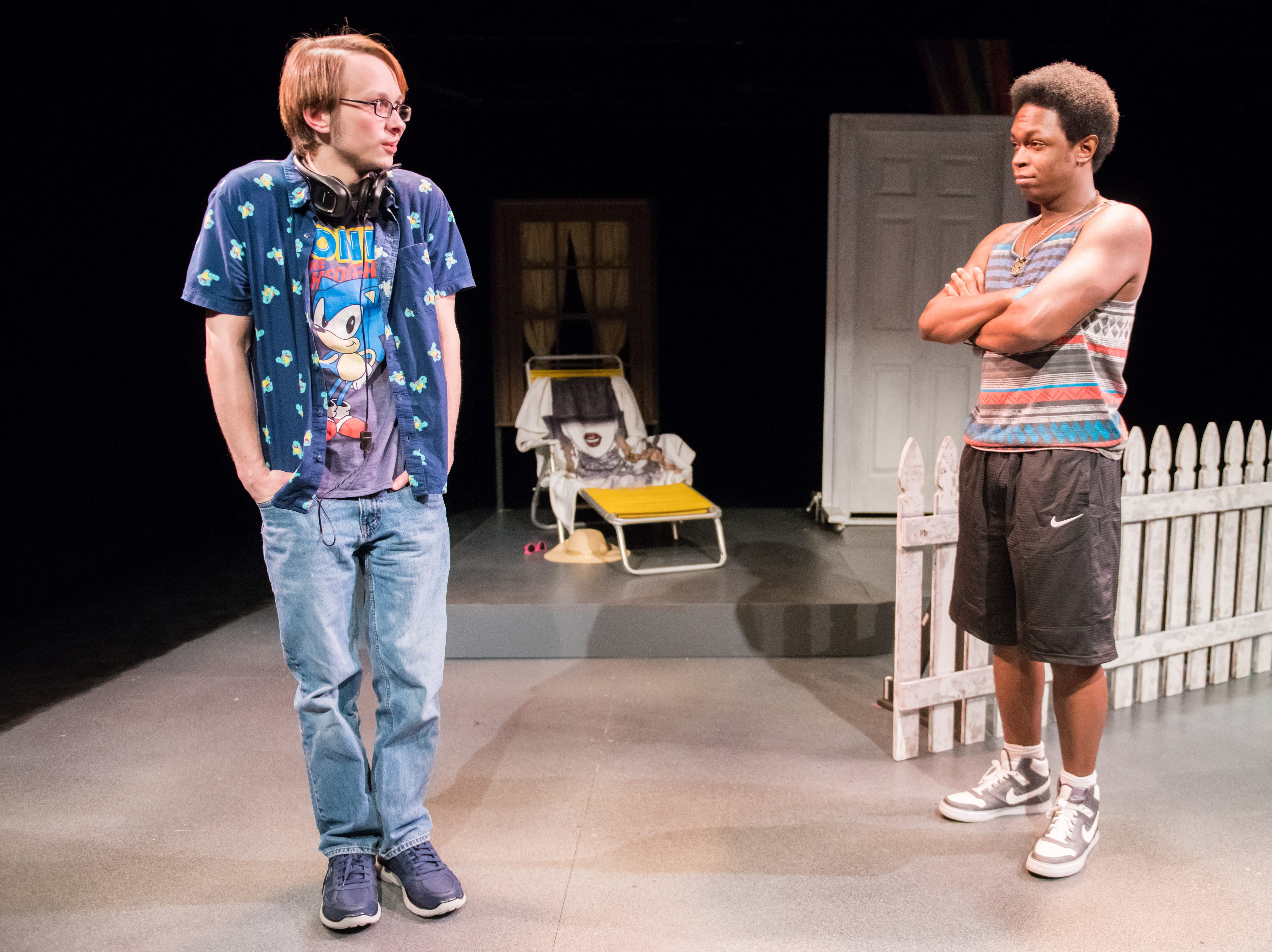 "Jarrod Langwinski (left) and Sherrick Robinson perform in ""1-800-123-BOYS"" by Jazmin Reyes from Ronald Reagan High School. Milwaukee Chamber Theatre presents its Young Playwrights Festival Showcase Jan. 10-13 at the Broadway Theatre Center. 158 N. Broadway."