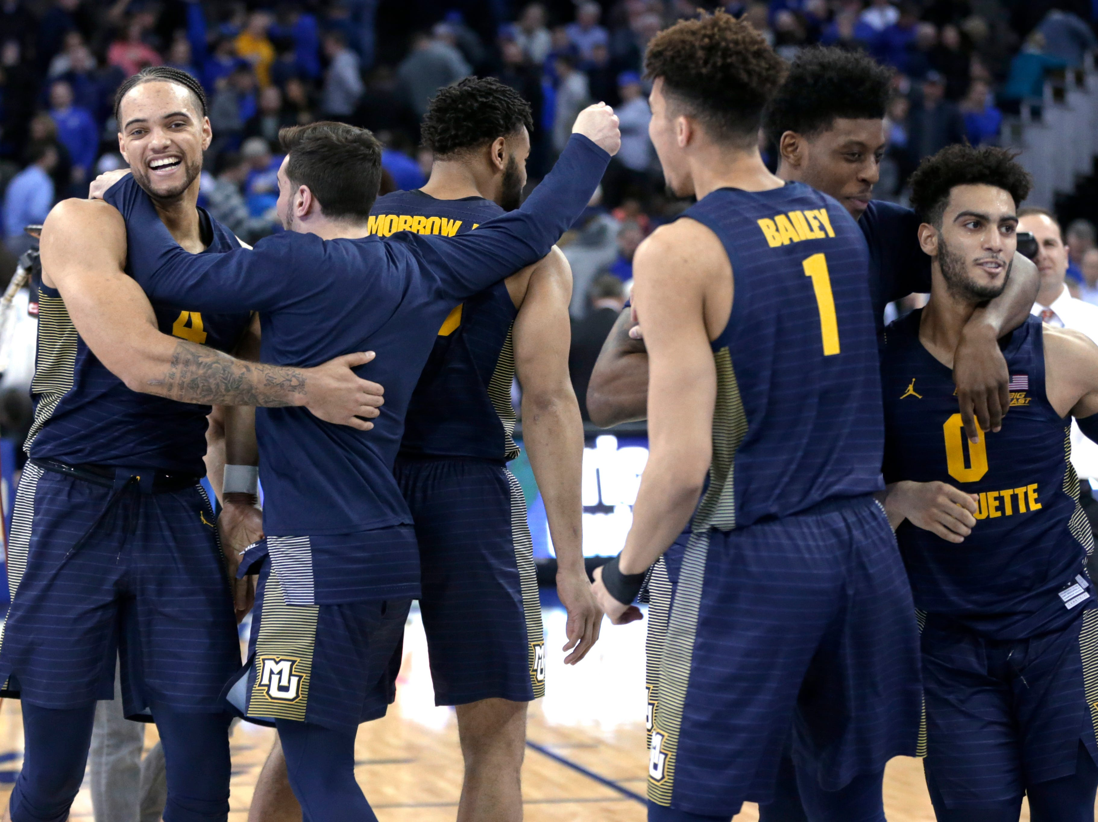 Marquette players have plenty to be happy about after picking up a thrilling overtime victory over Creighton on Wednesday night in Omaha, Nebraska.