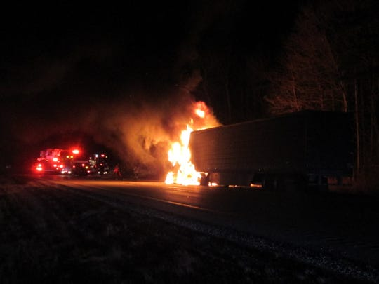 A semi-trailer carrying 32,000 pounds of cheese caught fire on southbound I-43, closing a section of the interstate near Mequon for 30 minuteson Wednesday, Jan. 9.