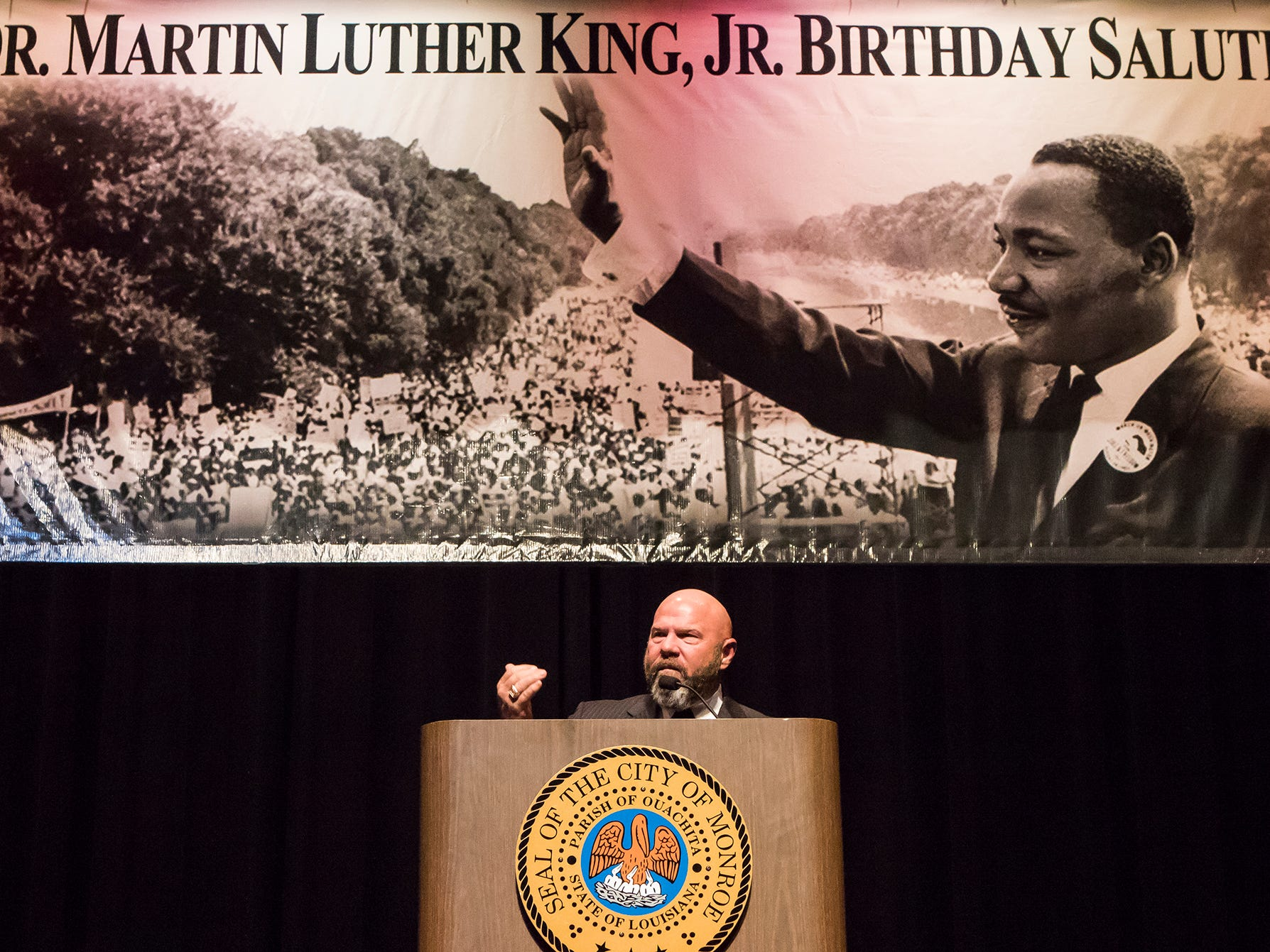 Bishop C. T. Hanchey speaks at the 40th Annual City of Monroe Salute to Martin Luther King Jr.