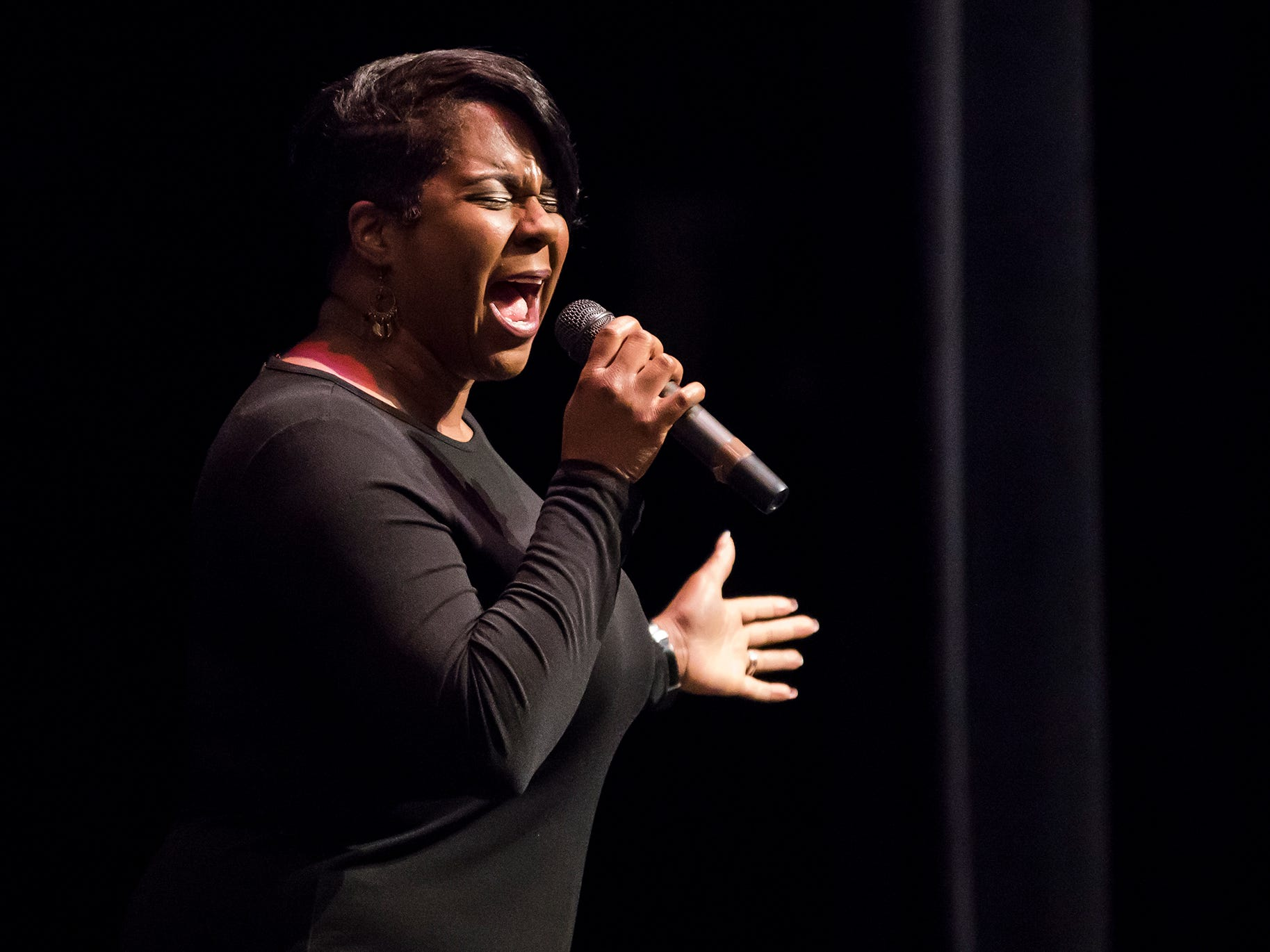 "Kanika N. Trigg performed the song ""Thank You, Lord"" during Monroe City's 40th Annual Salute to Martin Luther King Jr."
