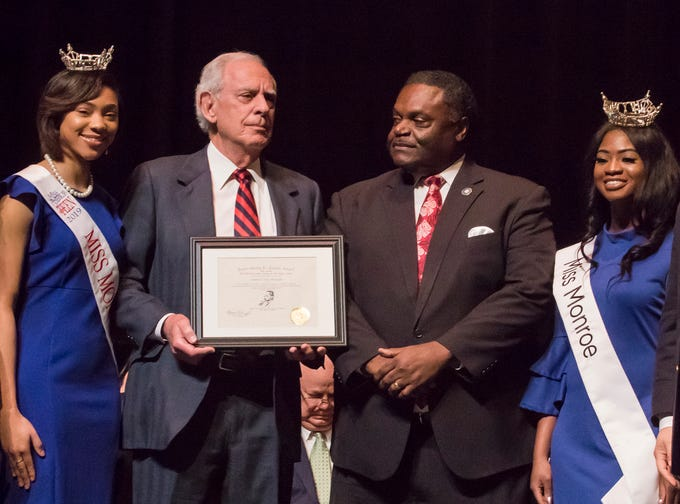 Attorney Tony Bruscato was recognized with the James Sharp Jr. Justice Award. It was presented by City Council Vice-Chair Juanita Woods, Miss Monroe's Outstanding Teen Heaven Britton, Mayor Jamie Mayo, Miss Monroe Grace Powell and City Councilman Michael Echols.